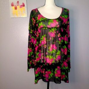 Betsey Johnson Floral Tunic Top